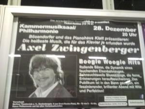 Poster für ein Konzert von Axel Zwingenberger