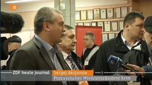 Ausschnitt aus dem ZDF heute journal, Sergej Aksjonow, betitelt als Prorussischer Ministerpräsident Krim