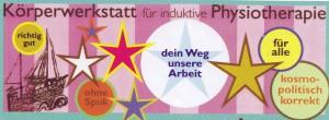 """Knallbunter Werbeaufkleber einer """"Körperwerkstatt für induktive Physiotherapie"""""""