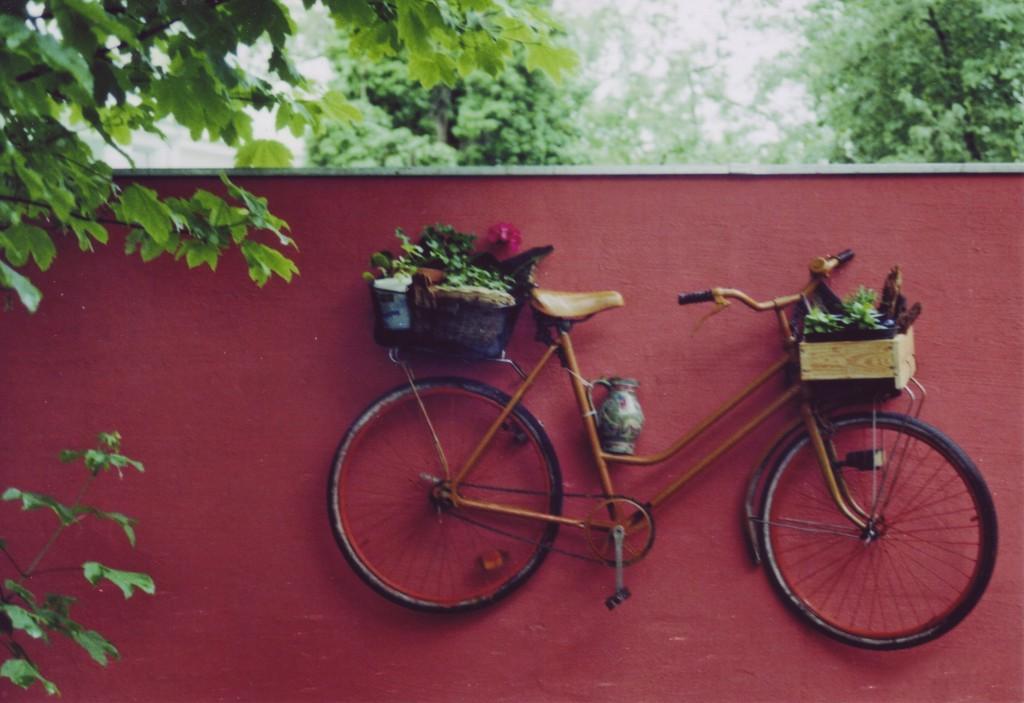 An einer rotgestrichenen Mauer hängt in halber Höhe ein Damenfahrrad mit gefüllten Körben vor dem Lenker und auf dem Gepäckträger