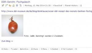 Screenshot eines Rss-Feedreaders: Bild einer Zwiebel, dazu der Text DDR-Gericht: Fischgulasch. Benötigt werden 2 Zwiebeln.
