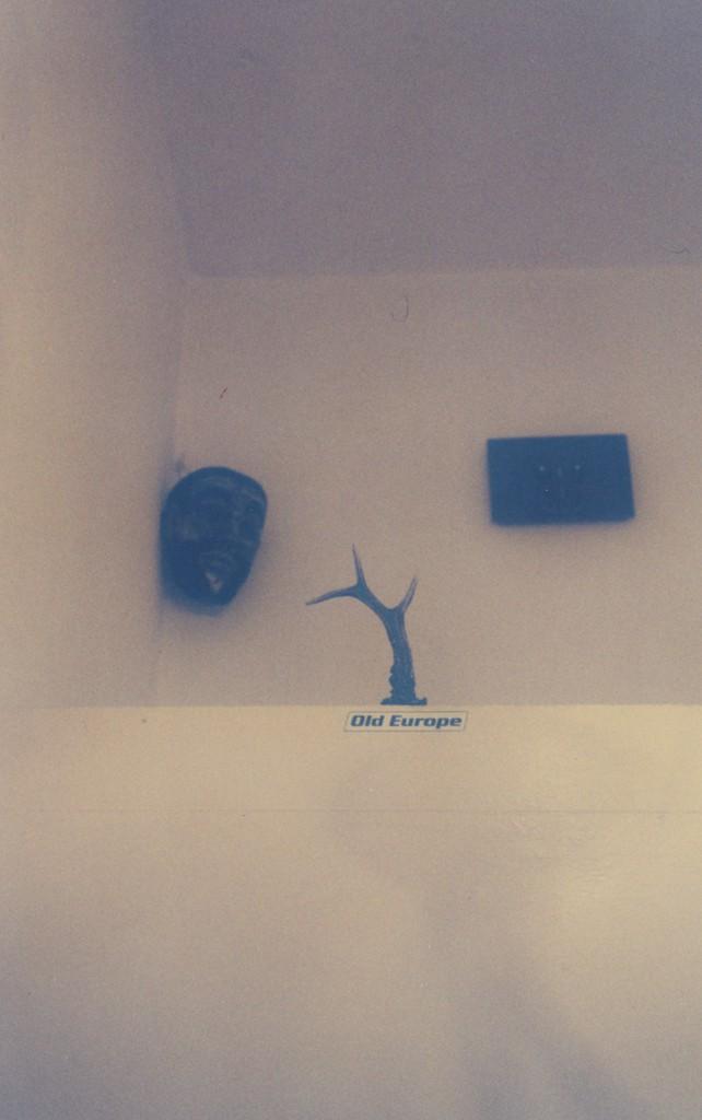 """Weisse Wände, in einer Ecke hängt unter der Decke eine Maske, im Vordergrund ist ein Rehgeweihzack zu erkennen, darunter ein Aufkleber """"Old Europe"""""""