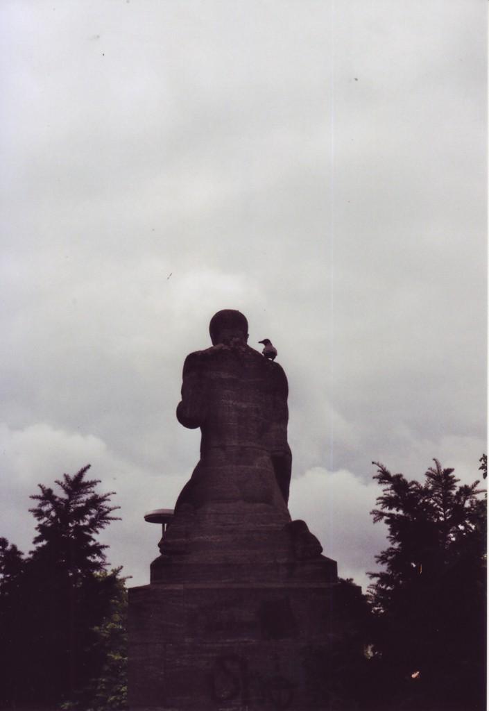 Ein Rabe sitzt auf der Schulter eines Denkmals (Rückansicht) einer männlichen Person