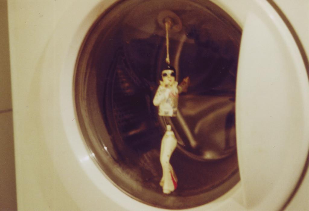 Elvis-Wackeldackel in dem Bullauge einer Waschmaschine